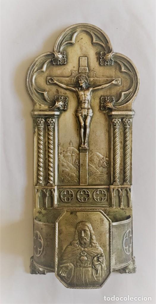 BENDITERA PLATEADA DEL SXIX. (Antigüedades - Religiosas - Benditeras)