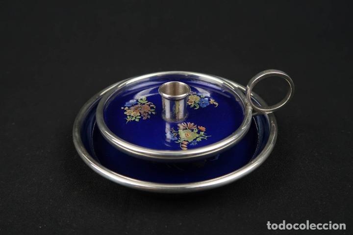 Antigüedades: Antiguo candelabro con bandeja de Plata y Esmaltes España Contraste Estrella - Foto 2 - 176208868
