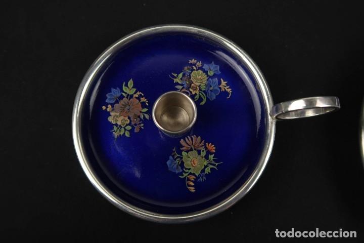 Antigüedades: Antiguo candelabro con bandeja de Plata y Esmaltes España Contraste Estrella - Foto 5 - 176208868