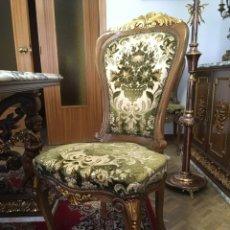 Antigüedades: SILLAS DE NOGAL TALLADAS, CON PAN DE ORO, ESTILO BARROCO. Lote 176213557