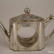 Antigüedades: TETERA - SERVILLETERO - SILVER PLATED. Lote 176230607