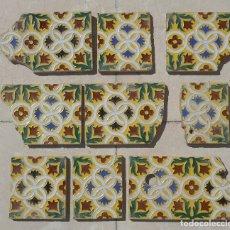 Antigüedades: LOTE DE RESTOS DE AZULEJOS DE TRIANA CERÁMICA MENSAQUE , RODRIGUEZ Y CÍA. SIGLO XIX. Lote 176267988