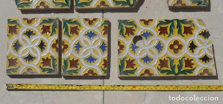 Antigüedades: LOTE DE RESTOS DE AZULEJOS DE TRIANA CERÁMICA MENSAQUE , RODRIGUEZ Y CÍA. SIGLO XIX - Foto 2 - 176267988