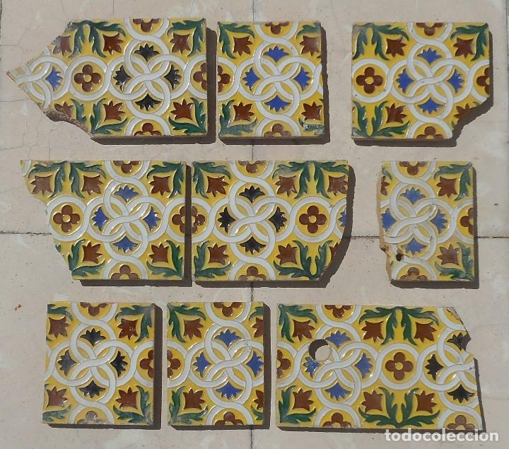 Antigüedades: LOTE DE RESTOS DE AZULEJOS DE TRIANA CERÁMICA MENSAQUE , RODRIGUEZ Y CÍA. SIGLO XIX - Foto 5 - 176267988