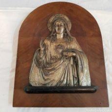 Antigüedades: ANTIGUO SAGRADO CORAZON DE MARIA EN BAÑO DE PLATA. Lote 176273845