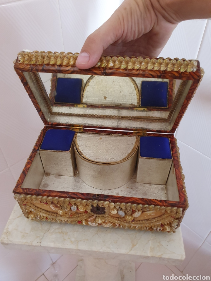 Antigüedades: EXQUISITA Y ANTIGUA CAJA JOYERO DECORADA CON CONCHAS - Foto 9 - 176275828