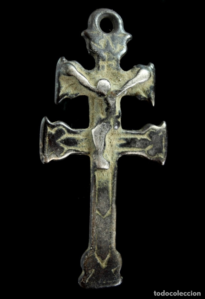 CRUZ RELIGIOSA DE PLATA, SIGLOS XVI-XVII, 36X17 MM. (Antigüedades - Religiosas - Cruces Antiguas)