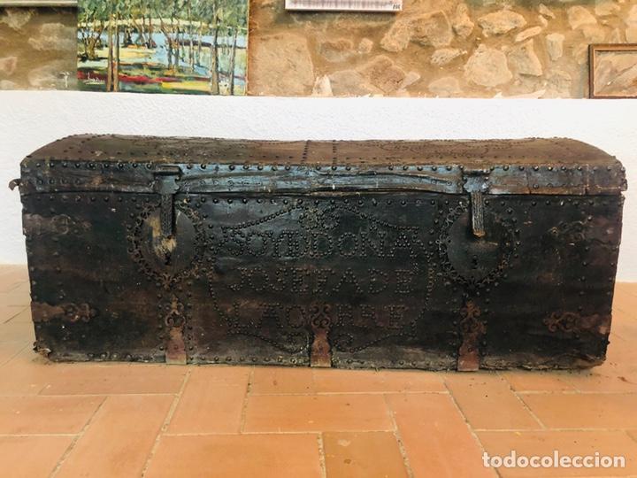 Antigüedades: Baúl forrado en cuero - Foto 2 - 176313712