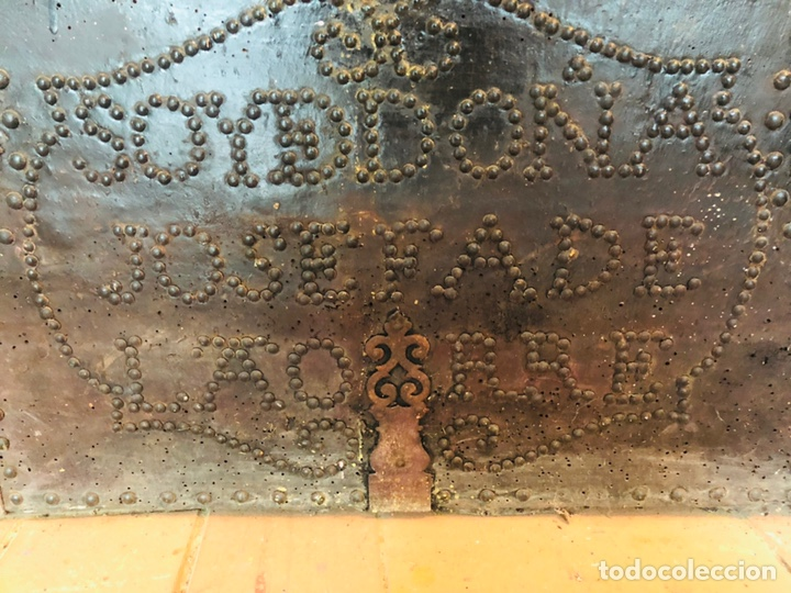 Antigüedades: Baúl forrado en cuero - Foto 3 - 176313712