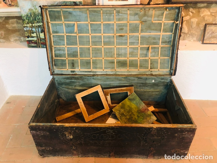 Antigüedades: Baúl forrado en cuero - Foto 5 - 176313712