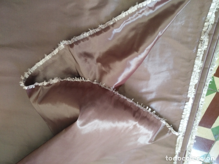 Antigüedades: 3 metros x 2,5 metros tela malva tornasol tipo tafetan ideal manto virgen tunica cristo semana santa - Foto 3 - 176318884