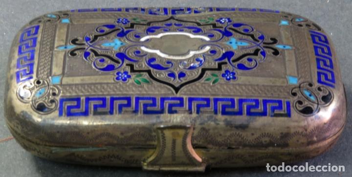 Antigüedades: Monedero en plata y esmaltes con interior forrado en tela hacia 1900 - Foto 2 - 176336759
