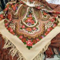 Antigüedades: MANTON DE LANA ESTAMPADO. Lote 176340477