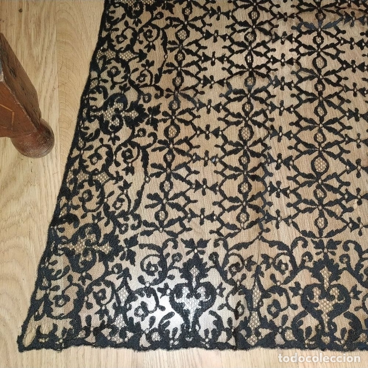 Antigüedades: GRAN MANTILLA. 240X105. BORDADO A MANO SOBRE TUL. ESPAÑA. XIX-XX - Foto 5 - 176343678
