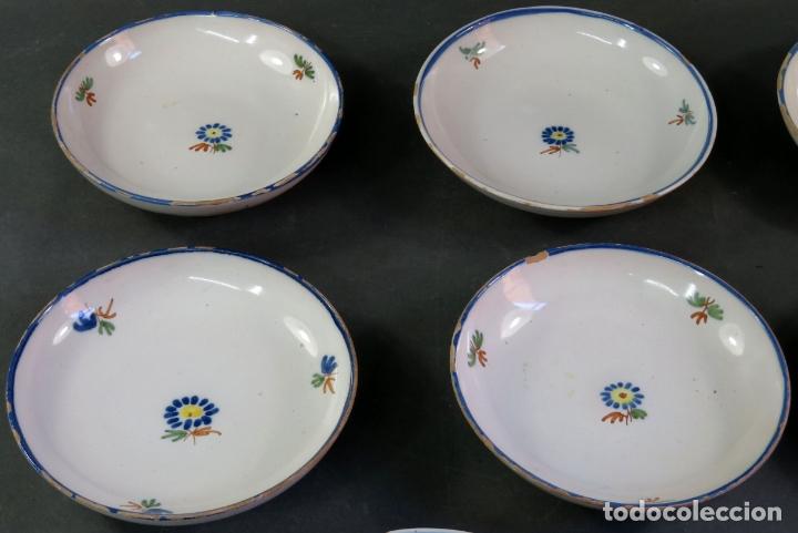 Antigüedades: Ocho platos de postre en cerámica de Alcora serie del ramito siglo XIX - Foto 2 - 176346550
