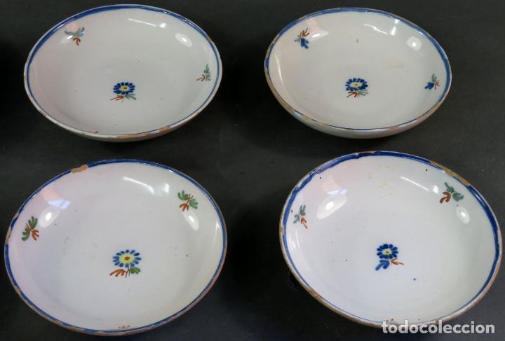 Antigüedades: Ocho platos de postre en cerámica de Alcora serie del ramito siglo XIX - Foto 3 - 176346550