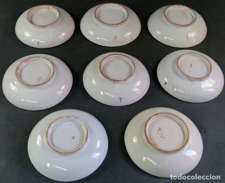 Antigüedades: Ocho platos de postre en cerámica de Alcora serie del ramito siglo XIX - Foto 5 - 176346550