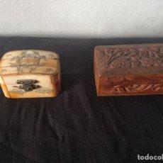 Antigüedades: CAJITA HUESO - CAJITA MADERA TALLADA. Lote 176346774