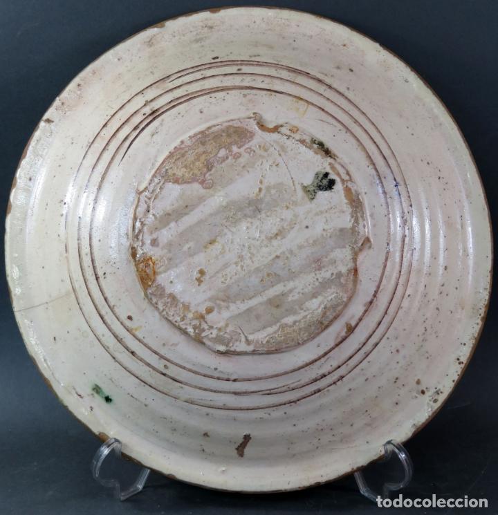 Antigüedades: Plato acuencado en cerámica de Teruel decoración vegetal principios del siglo XIX - Foto 3 - 176346925