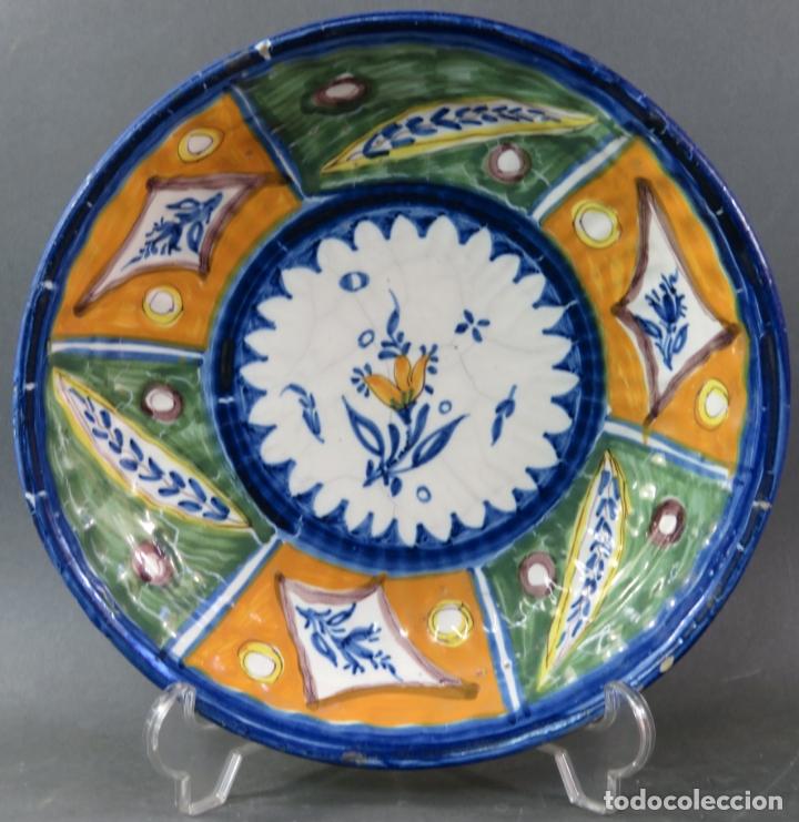 PLATO ACUENCADO EN CERÁMICA ONDA RIBESALBES CON MARCA DE ALFAR MANISES SIGLO XIX (Antigüedades - Porcelanas y Cerámicas - Ribesalbes)