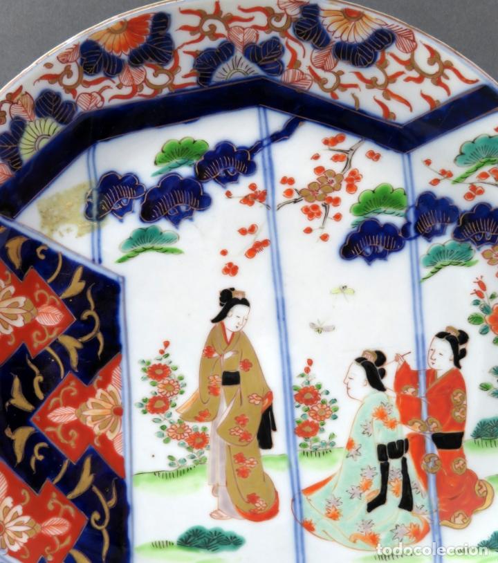 Antigüedades: Plato en cerámica Era Meiji con escena costumbrista Japón segunda mitad del siglo XIX - Foto 2 - 176347695