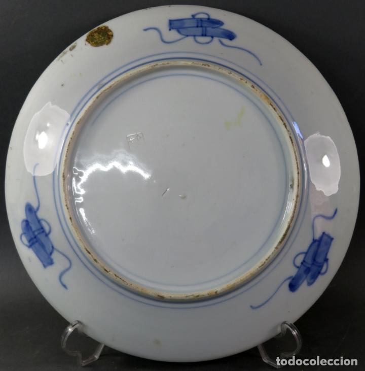 Antigüedades: Plato en cerámica Era Meiji con escena costumbrista Japón segunda mitad del siglo XIX - Foto 3 - 176347695