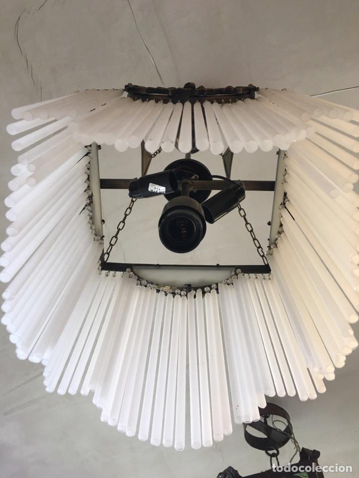 Antigüedades: Replica de lámpara Art Nouveau - Bronce y macarrones de cristal - Foto 8 - 128241703