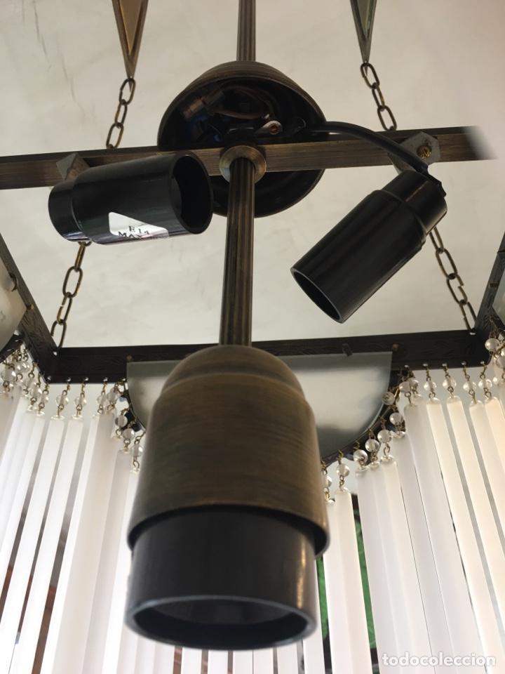 Antigüedades: Replica de lámpara Art Nouveau - Bronce y macarrones de cristal - Foto 9 - 128241703