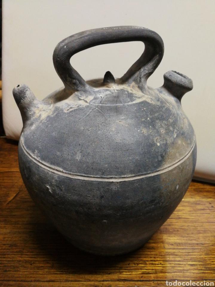 ANTIGUO BOTIJO CÀNTIR VERDÚ (RAMON RABINAT)- CERÁMICA NEGRA CATALANA, 25CM. (Antigüedades - Porcelanas y Cerámicas - Catalana)