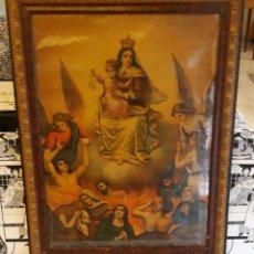 Antigüedades: ANTIGUA LAMINA ENMARCADA DE ESCENA DE LA VIRGEN Y NIÑO JESUS VER FOTOS Y DESCRIPCION. Lote 176372538