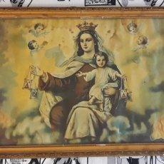 Antigüedades: ANTIGUA LAMINA ENMARCADA DE ESCENA DE LA VIRGEN Y EL NIÑO JESUS VER FOTOS Y DESCRIPCION. Lote 176373127