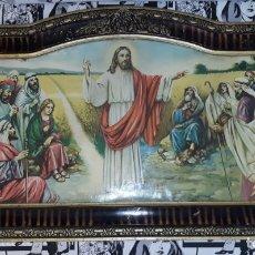 Antigüedades: ANTIGUA LAMINA ENMARCADA DE ESCENA DE JESUS Y LOS DISCIPULOS VER FOTOS Y DESCRIPCION. Lote 176373328