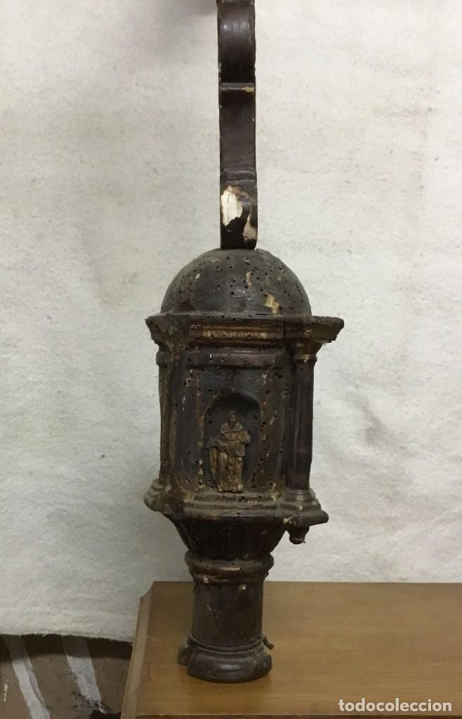 Antigüedades: Cruz Procesional de madera del siglo XVII - XVIII - NECESITA RESTAURACIÓN - Foto 15 - 176412404