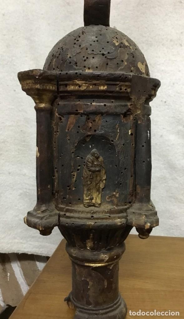 Antigüedades: Cruz Procesional de madera del siglo XVII - XVIII - NECESITA RESTAURACIÓN - Foto 18 - 176412404