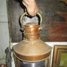 Antigüedades: 45 X 30 CMS GRAN FAROL ANTIGUO NAVAL DE BARCO DE ALICANTE INSTALACION INTERIOR. Lote 176414448