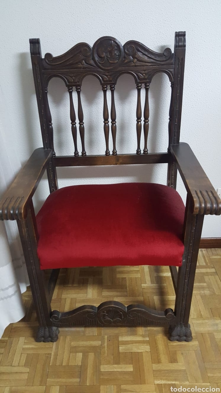 Antigüedades: Despacho completo: armario, mesa, 4sillas,sillon,lámpara - Foto 5 - 176205453