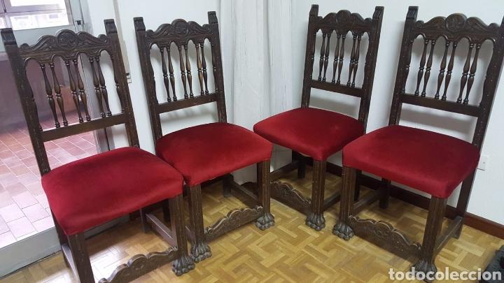 Antigüedades: Despacho completo: armario, mesa, 4sillas,sillon,lámpara - Foto 6 - 176205453