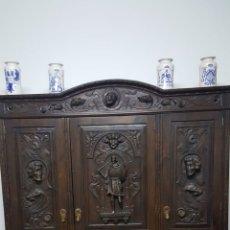 Antigüedades: DESPACHO COMPLETO: ARMARIO, MESA, 4SILLAS,SILLON,LÁMPARA. Lote 176205453