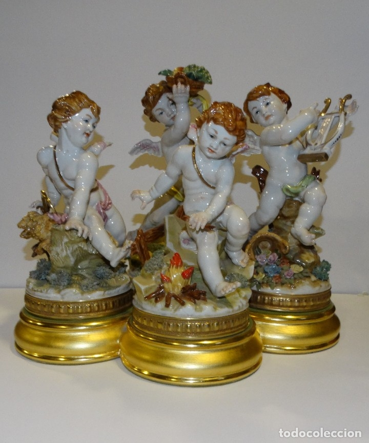 PORCELANA DE ALGORA. LAS CUATRO ESTACIONES. PEANAS EN PAN D ORO DE MADERA (Antigüedades - Porcelanas y Cerámicas - Algora)