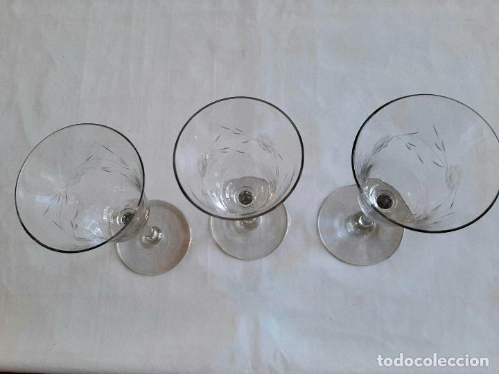 Antigüedades: R 1913 3 copas de cristal sopladio y tallado a mano - principios siglo XIX - Foto 3 - 176453699