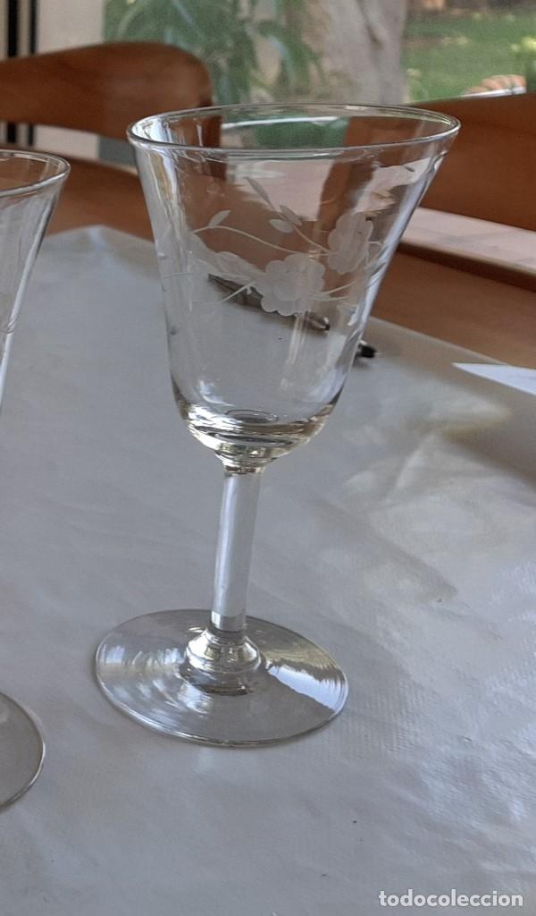 Antigüedades: R 1913 3 copas de cristal sopladio y tallado a mano - principios siglo XIX - Foto 4 - 176453699