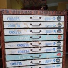 Antigüedades: ANTIGUA CAJONERA DE MERCERIA . PUBLICIDAD FABRA Y COAST . TIENDA VINTAGE. Lote 176499592