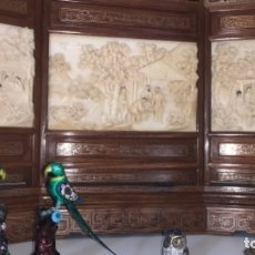 Antigüedades: BIOMBO CHINO PLACAS MARFIL PPIOS SXX. Lote 176500047