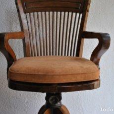Antigüedades: SILLON GIRATORIO EN NOGAL. Lote 176506930