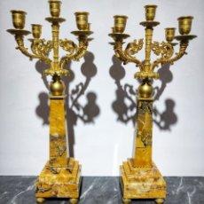 Antigüedades: PAR DE CANDELABROS NAPOLEON III SIGLO XIX. Lote 176517487