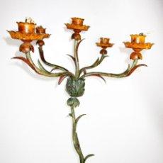 Antigüedades: SUPER LAMPARA APLIQUE BRAZO FORJA POLICROMADA PARA LAMPARA VENECIANO ANTORCHERO. Lote 176519164