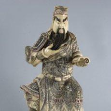 Antigüedades: MAGNIFICA Y GRAN FIGURA DE EMPERADOR CHINO EN HUESO, ESCUELA CHINA PRINCIPIOS 1900. Lote 176541297