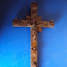 Antigüedades: (ANT-190956)CRUZ RELICARIO EN MADERA DE OLIVO - SIGLO XIX. Lote 176548735