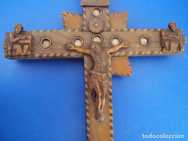 Antigüedades: (ANT-190956)CRUZ RELICARIO EN MADERA DE OLIVO - SIGLO XIX - Foto 4 - 176548735