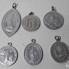 Antigüedades: LOTE DE 6 MEDALLAS VIRGEN Y SANTOS, MEDDA LA MAS GRANDE 3,5X5,5 CM.. Lote 176572918